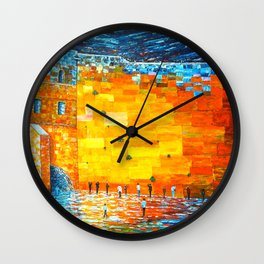 Jerusalem Wailing Wall Original Acrylic Palette Knife Painting Wall Clock