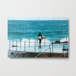 Surfer waiting for entry into the surf at Bronte Beach. Sydney. Australia. Metal Print