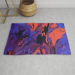 Blue, Teal and Orange Fantasy Rug