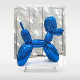 Big Blue Balloon Dog Shower Curtain