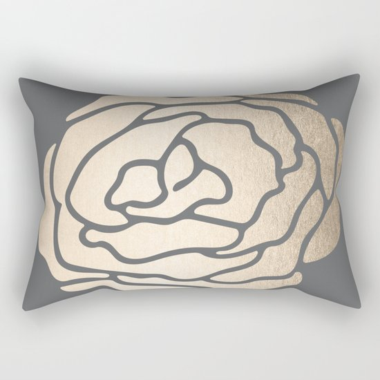 Rose in White Gold Sands on Storm Gray Rectangular Pillow