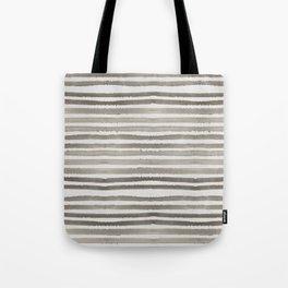 Simply Shibori Stripes Earth Brown on Lunar Gray Tote Bag