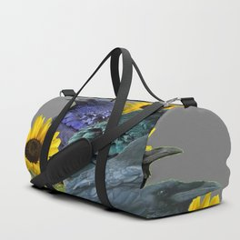 THREE CROWS/RAVENS  YELLOW SUNFLOWERS ON GREY ART Duffle Bag