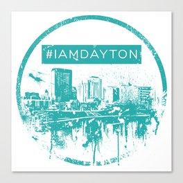 I Am Dayton - City Splatter - Green Canvas Print