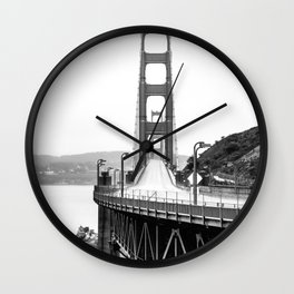 Golden Gate Bridge Black and White Wall Clock