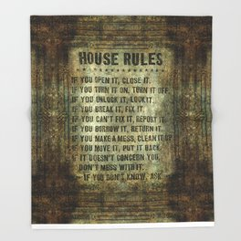 House rules on aged vintage retro looking parchment patina Throw Blanket