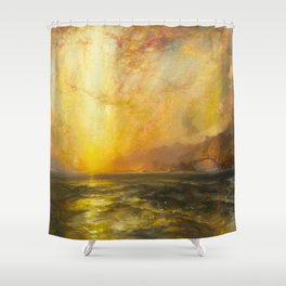 Golden Sunset and Sky over a Troubled Sea landscape painting by Thomas Moran Shower Curtain