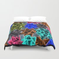 bows Duvet Covers featuring Chalkboard Bows by Lady Tanya bleudragon