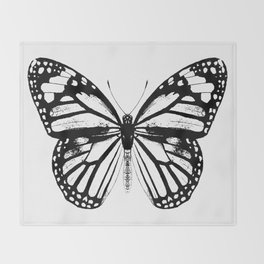 Monarch Butterfly | Vintage Butterfly | Black and White | Throw Blanket