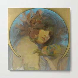 "Alphonse Mucha ""Study for a poster - Fruit"" Metal Print"