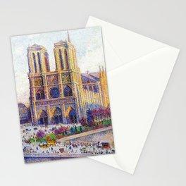 Quai Saint-Michel and Notre-Dame Paris landscape painting by Maximilien Luce Stationery Cards