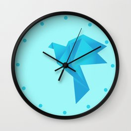 Fly Me to the Moon - Origami Blue Bird Wall Clock