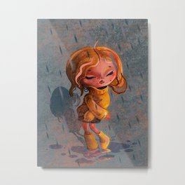 Girl in Rain Digital Painting Metal Print