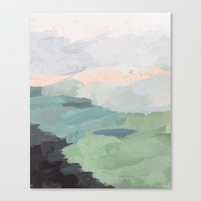 Seafoam Green Mint Black Blush Pink Abstract Nature Land Art Painting Canvas Print
