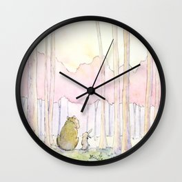 Unlikely Friendship Large Print (Bunny and Bear in the Woods) Wall Clock