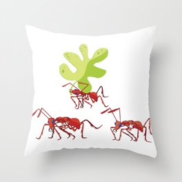 Red ants Throw Pillow