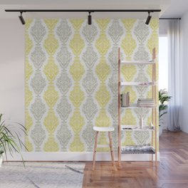 Yellow Gray Damask Wall Mural