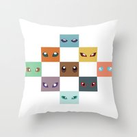 eevee Throw Pillows featuring Eyes of Eevee by Casey Sawyer