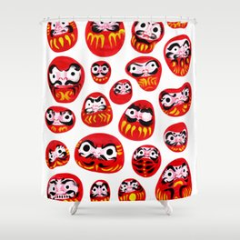 Japanese Daruma Characters Shower Curtain