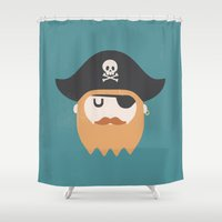pirate Shower Curtains featuring Pirate by Beardy Graphics