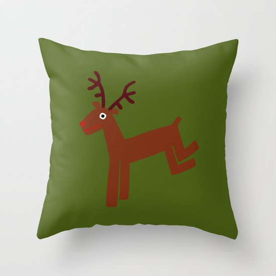 Reindeer-Green Throw Pillow