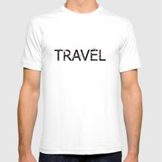 TRAVEL White Mens Fitted Tee SMALL
