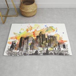 Los Angeles Cityscape Skyline Painting Rug