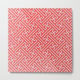 Lattice - Coral Metal Print