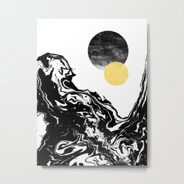 Eugenia - abstract mixed media black white gold foil sunrise sunset painting earth galaxy space sea Metal Print