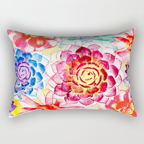 Colorful Succulents  Rectangular Pillow