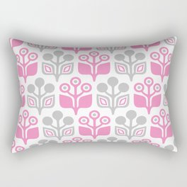 Mid Century Garden Flower Pattern Pink Grey Rectangular Pillow