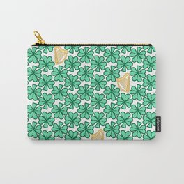 Shamrock and Harp Pattern 2, transparent background Carry-All Pouch