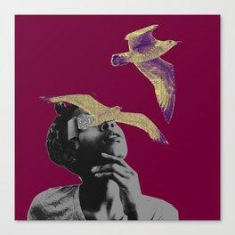 I think I saw a purple bird Canvas Print