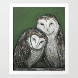 Soul Mates // Barn Owls Owl Bird Feather Wing Nature Love Animal Wild Nest Couple Marriage Family Art Print