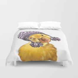 Baby Yellow Duck with Winter Hat Duvet Cover
