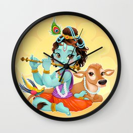Baby Krishna with sacred cow Wall Clock