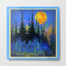 Blue Mountain Full Moon Landscape Art Metal Print