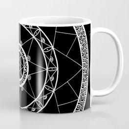 Zen Star Mandala - Black White - Square Coffee Mug