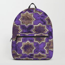 Oriental Tile pattern - Purple Acrylic and Gold Backpack