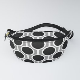 Retro-Delight - Simple Circles - White Grey Fanny Pack