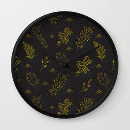 Thin delicate lines silhouettes of different plants. Wall Clock