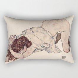 Egon Schiele - Kneeling Girl, Resting on Both Elbows Rectangular Pillow