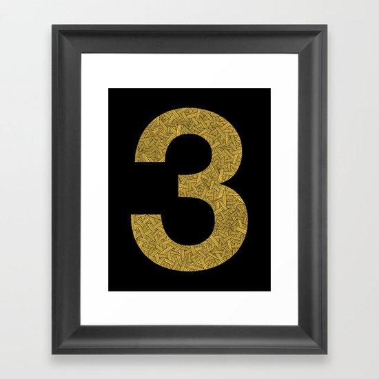 Three - Yellow Framed Art Print