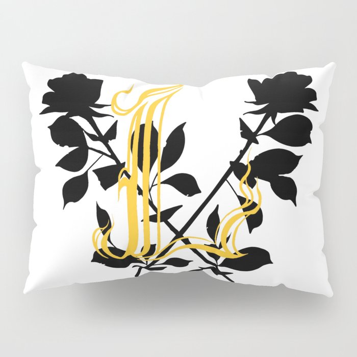 Locust Tattoo roses and L monogram by Sarah de Azevedo Pillow Sham