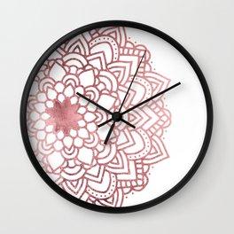Elegant faux rose gold floral mandala Wall Clock