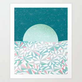 Geometric Sunrise - Teal and Pink Art Print