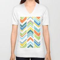 chevron V-neck T-shirts featuring Chevron by Tayler Willcox