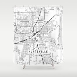 Huntsville Map, Alabama USA - Black & White Portrait Shower Curtain