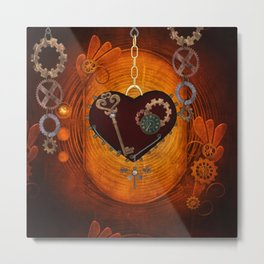 Steampunk, heart with gears Metal Print