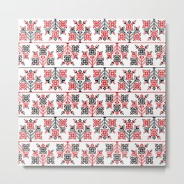 Seamless pattern design inspired by Romanian traditional embroidery Metal Print